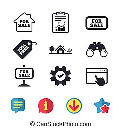 For sale icons. Real estate selling. - For sale icons. Real...