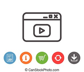 Browser Window line icon. Video content sign.