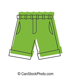 Green shorts in doodle style icons vector illustration for design and web isolated on white