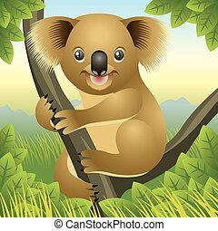 Koala Bear - Illustration of a baby koala up in a tree, more...