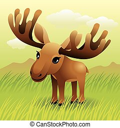 Moose - Illustration of a baby moose standing in a grass...