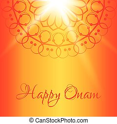 Happy Onam greeting card with orange background - Happy Onam...