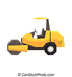 Big yellow road roller, heavy construction machine vector Illustration
