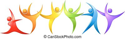 Abstract colorful dancing figures