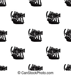Clownfish and anemone icon in black style isolated on white...