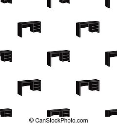 A mall table for writing.Wooden table on legs with drawers.Bedroom furniture single icon in black style vector symbol stock illustration.