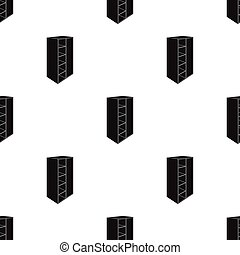 Light Cabinet with bins and mirror.Wardrobe for women's clothing.Bedroom furniture single icon in black style vector symbol stock illustration.