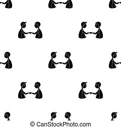 Handshaking of businessmen icon in black style isolated on white background. Conference and negetiations symbol stock vector illustration.