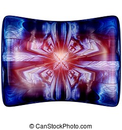 3D Glossy pillow button with colorrful fractal ornament - 3D...