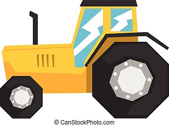 Yellow tractor, heavy agricultural machinery vector Illustration
