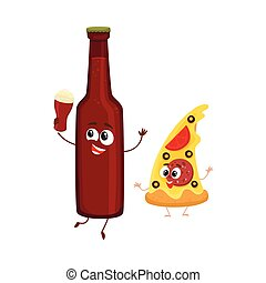 Funny beer bottle and yummy pizza slice characters having fun