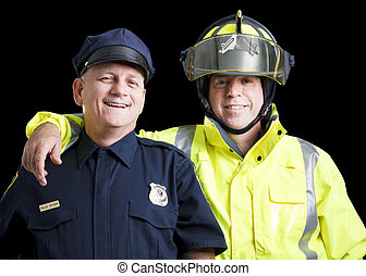 Happy Heroes - Portrait of happy, smiling police officer and...