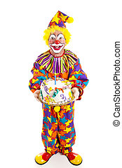 Clown With Cake - Full Body - Clown holding birthday cake....