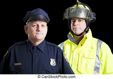 First Responders - Police officer and fire fighter portrait...