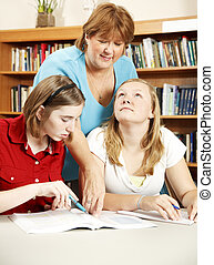 Librarian Assisting Students