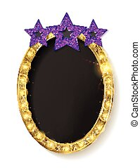 Red vintage frame with three stars. Realistic 3D oval with a...