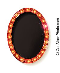 Red vintage frame. Realistic 3D oval with a neon light....