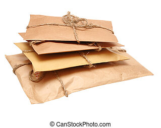 shipping boxes isolated on white - brown shipping parcel...