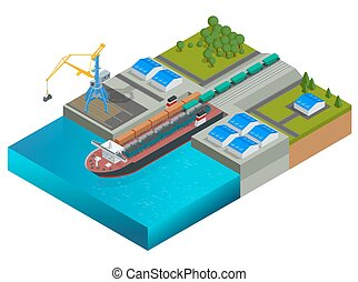Isometric railway dock, a ferry carrying train wagons. Train...