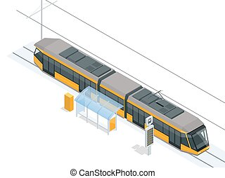 Tram on the stop. Tram stop isometric icon set vector graphic illustration. Vector city Subway train collection. Vehicles designed to carry large numbers of passengers.