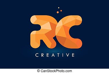 RC Letter With Origami Triangles Logo. Creative Yellow...