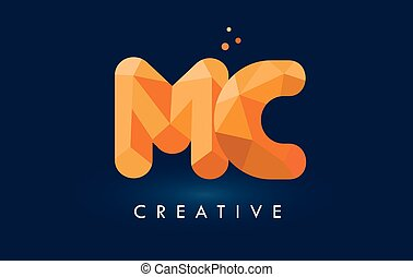 MC Letter With Origami Triangles Logo. Creative Yellow...