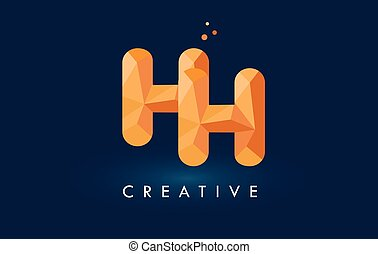 HH Letter With Origami Triangles Logo. Creative Yellow...