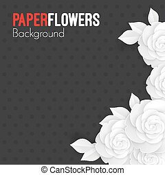 Paper flowers background with place for text, white origami roses