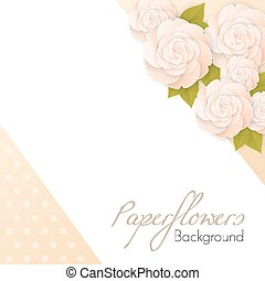 Paper flowers background with place for text vector ilustration