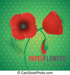 Paper flower realistic style illustration of red poppy