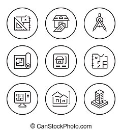 Set round line icons of architectural