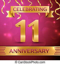Eleven Years Anniversary Celebration Design. Confetti and golden ribbon on pink background. Colorful Vector template elements for your birthday party. Anniversary ribbon