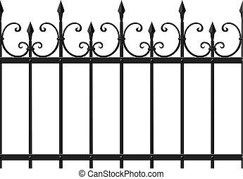 Openwork fence - Metal openwork fencing with sharp ends,...