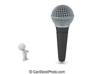 3D Character Looking Up at a Large Microphone