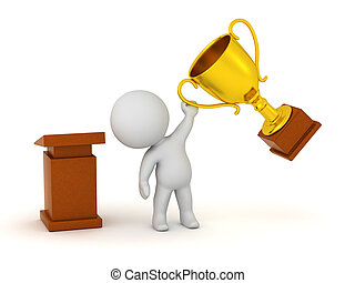 3D Character with Lectern and Gold Trophy - 3D character...