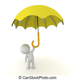 3D Character with Large Umbrella - 3D character holding up a...