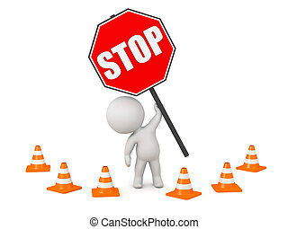 3D Character with Large Stop Sign - 3D character with a...