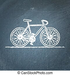 Bicycle sketch on chalkboard