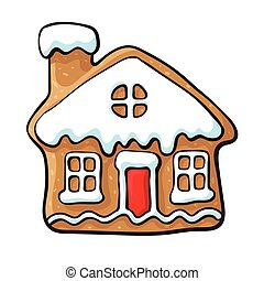 Glazed house-shaped Christmas gingerbread cookie - Glazed...