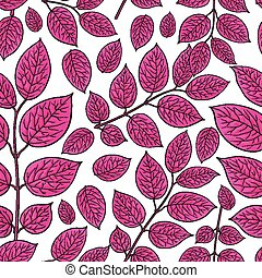 Seamless pattern of birch, honeysuckle crimson leaves -...