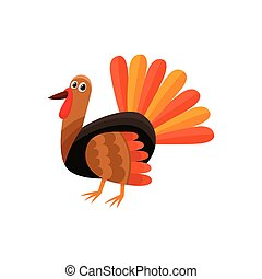 Cute and funny farm hen turkey character
