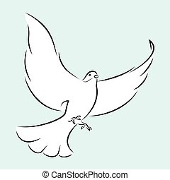 White Dove - Line Art Vector Illustration Of A Flying White...