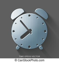 Flat metallic time 3D icon. Polished Steel Alarm Clock on Gray background. EPS 10, vector.