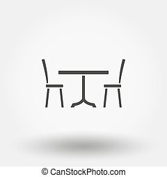 Dining table with chairs. Icon for web and mobile...