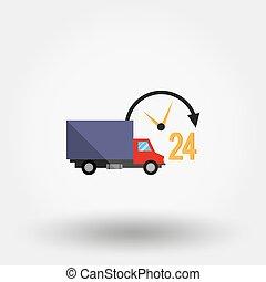 24, entrega, service., coche, horas, day.
