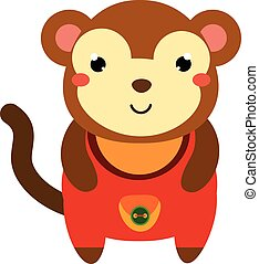 Cute monkey in red jumpsuit. Cartoon kawaii animal...