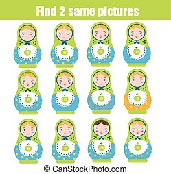 Find the same pictures children educational game. Find pair...