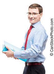 Happy chief accountant with a folder of documents on a white background