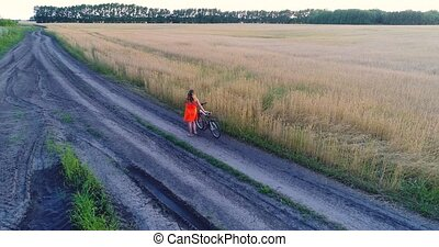 Girl in a dress goes with the bike along fields of wheat. Shooting at the drone. Beautiful landscape from a height