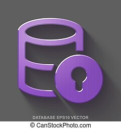 Flat metallic Programming 3D icon. Purple Glossy Metal Database With Lock on Gray background. EPS 10, vector.